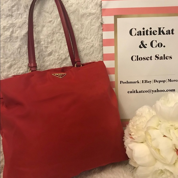 bbfb5956b4e8 ... discount code for authentic vintage prada red nylon tote b0c6f 58be9